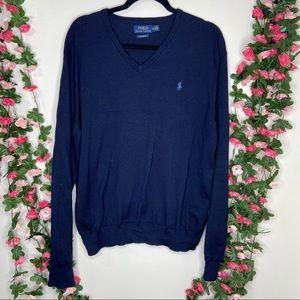 🌹 Polo Ralph Lauren Navy Blue V-neck Sweater XL